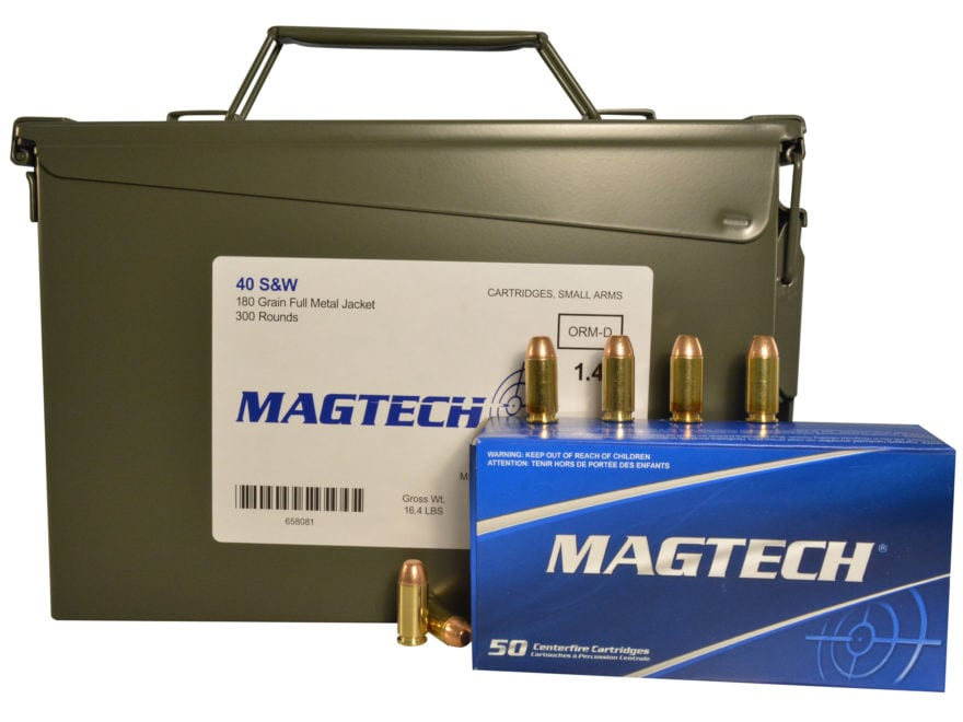 Magtech Sport Ammunition 40 S&W 180 Grain Full Metal Jacket Ammo Can of 300 (6 Boxes of...
