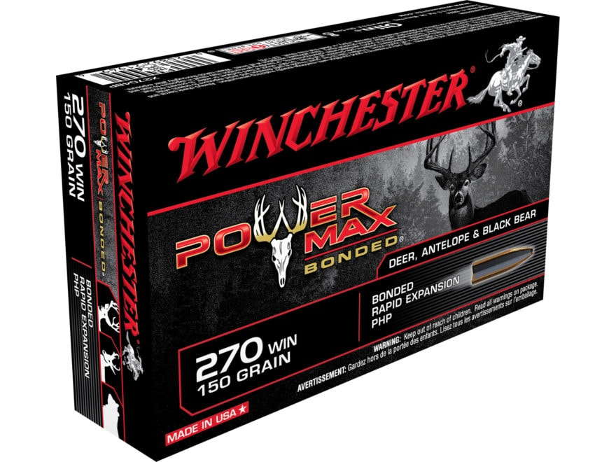 Winchester Power Max Bonded Ammunition 270 Winchester 150 Grain Protected Hollow Point