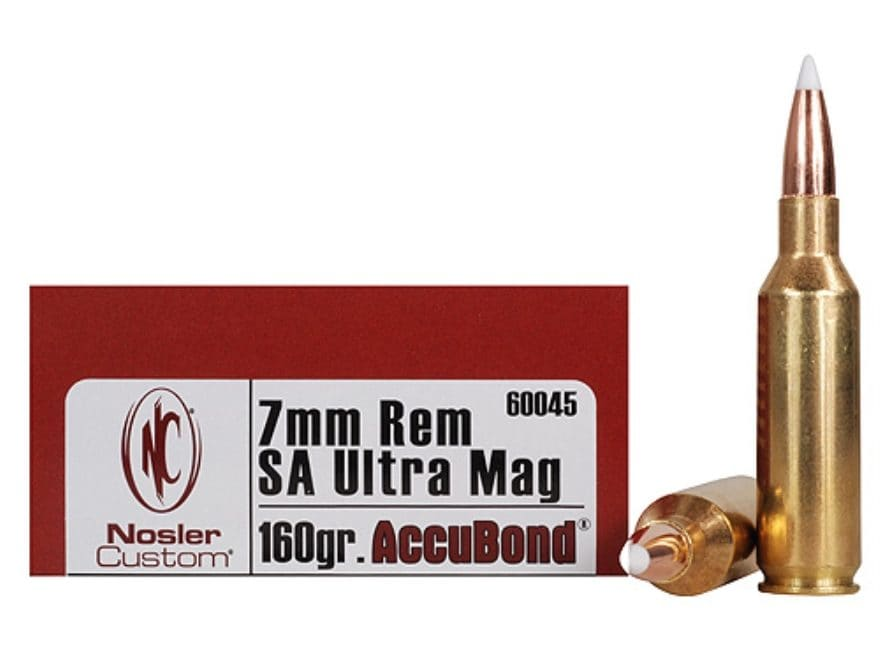 Nosler Trophy Grade Ammunition 7mm Remington Short Action Ultra Magnum 160 Grain AccuBo...