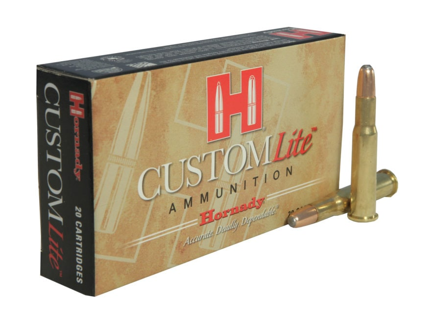 Hornady Custom Lite Ammunition 30-30 Winchester 150 Grain Round Nose Box of 20