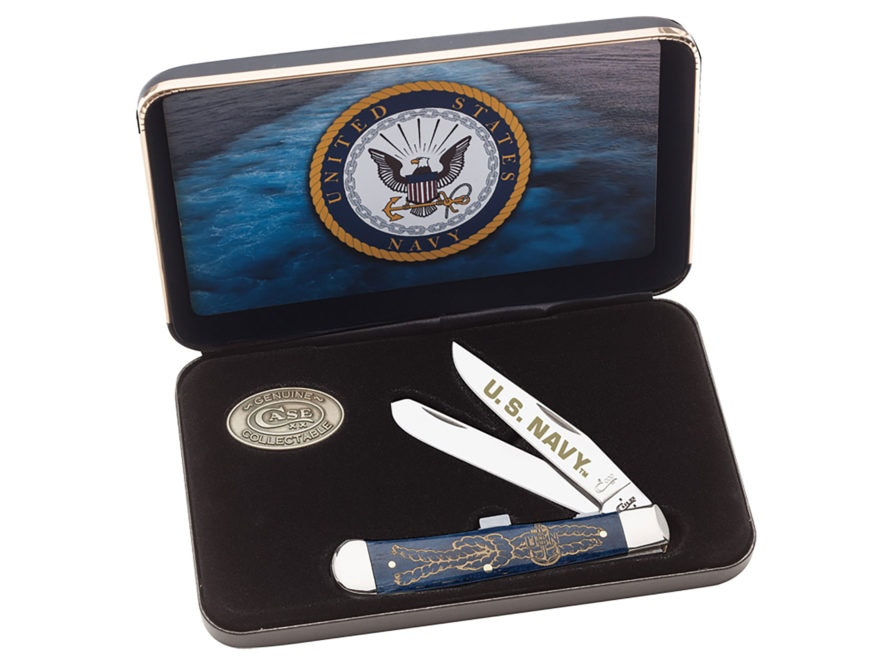 Case US Navy Trapper Folding Knife Clip and Spey Stainless Steel Blades Smooth Bone Han...