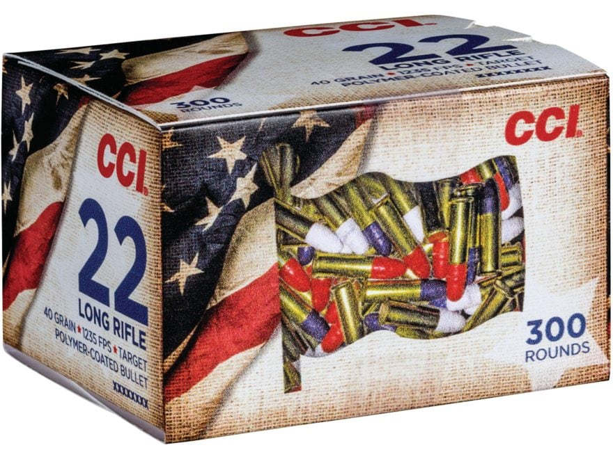 CCI Ammunition 22 Long Rifle 40 Grain Red, White, and Blue Coated Bullets Box of 300