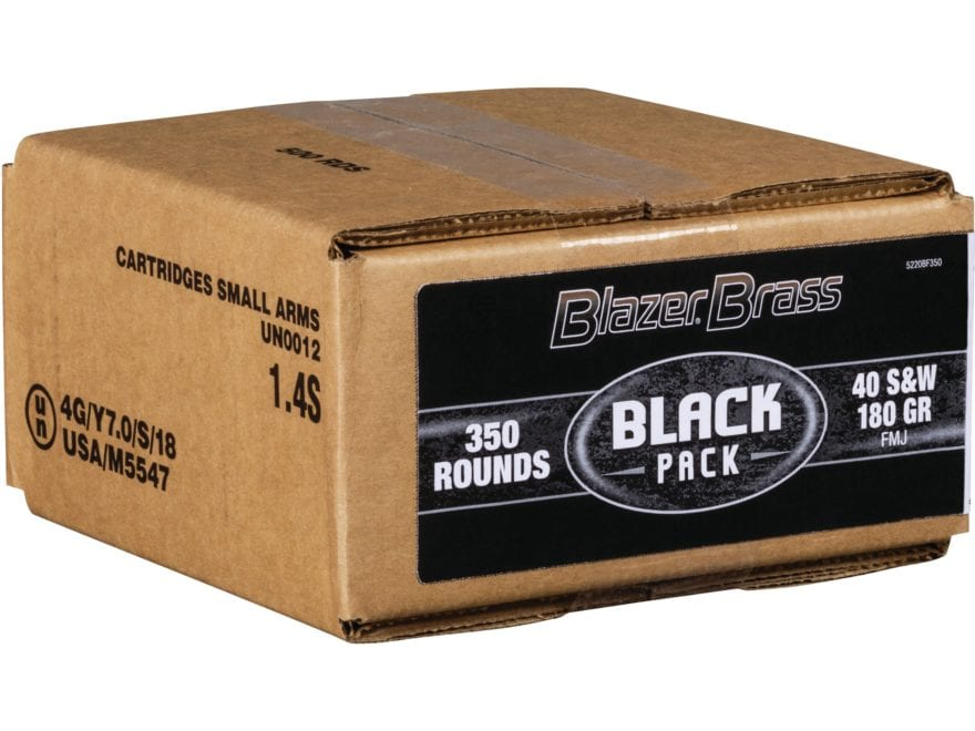 Blazer Brass Black Pack Ammunition 40 S&W 180 Grain Full Metal Jacket Box of 350