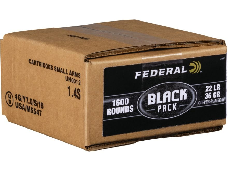 Federal Black Pack Ammunition 22 Long Rifle 36 Grain Copper Plated Hollow Point Box of ...