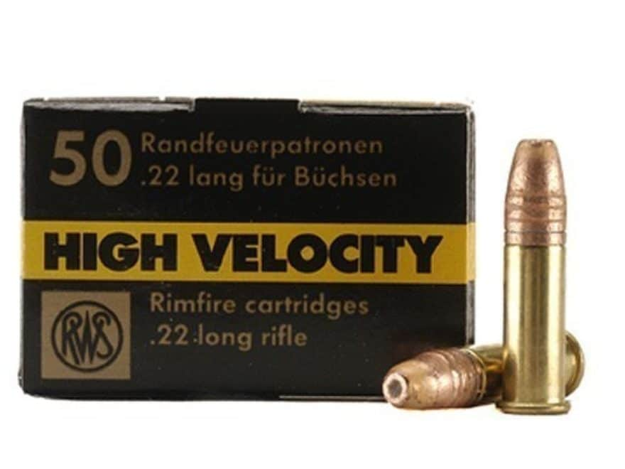 RWS High Velocity Ammunition 22 Long Rifle 40 Grain Plated Lead Hollow Point