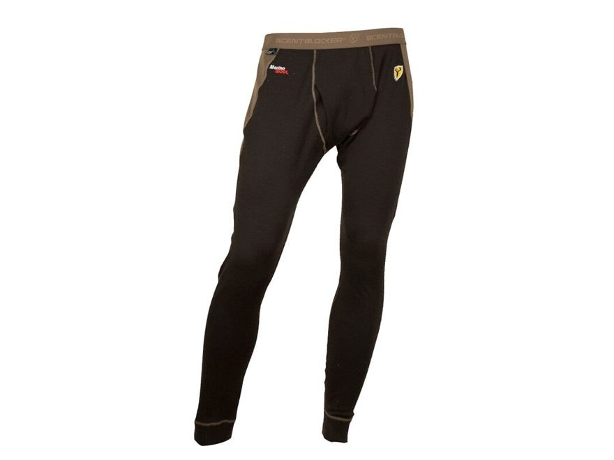 ScentBlocker Men's Midweight Wool Base Layer Pants Merino Wool