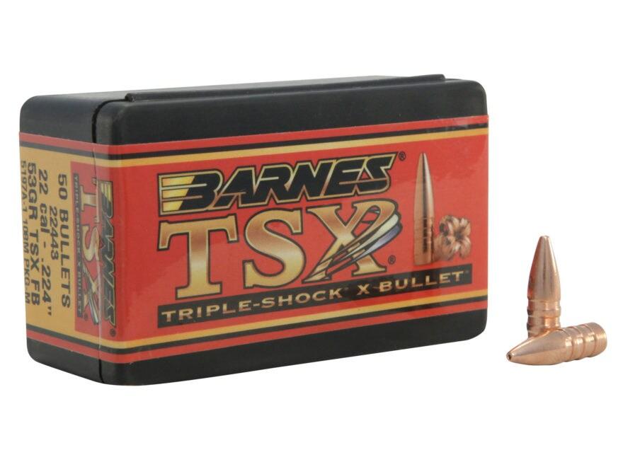 Barnes Triple-Shock X (TSX) Bullets 22 Caliber (224 Diameter) 53 Grain Hollow Point Fla...
