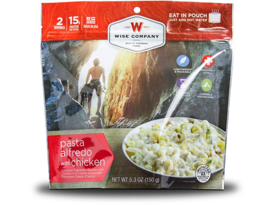Wise Company Outdoor Pasta Alfredo with Chicken Freeze Dried Food Pack of 6