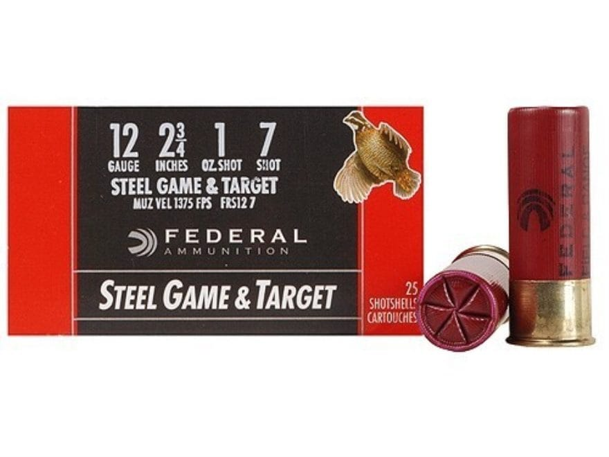 "Federal Game & Target Ammunition 12 Gauge 2-3/4"" 1 oz Non-Toxic Steel Shot"