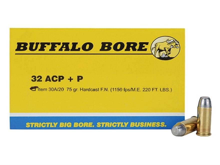 Buffalo Bore Ammunition 32 ACP +P 75 Grain Hard Cast Lead Flat Nose Box of 20