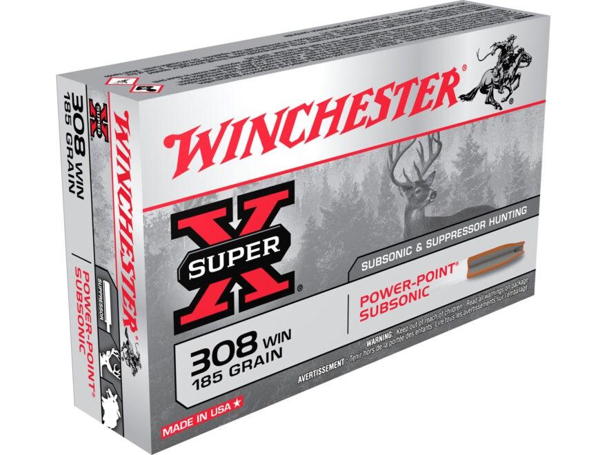 Winchester Super-X Ammunition 308 Winchester Subsonic 185 Grain Power-Point