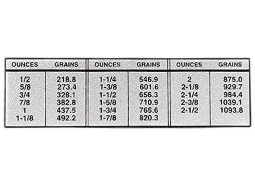 Lyman Ounce To Grain Conversion Chart Metal Mpn 7981847