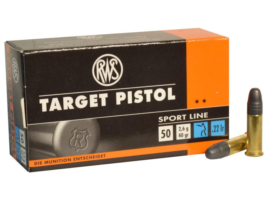 RWS Target Pistol Ammunition 22 Long Rifle 40 Grain Lead Round Nose
