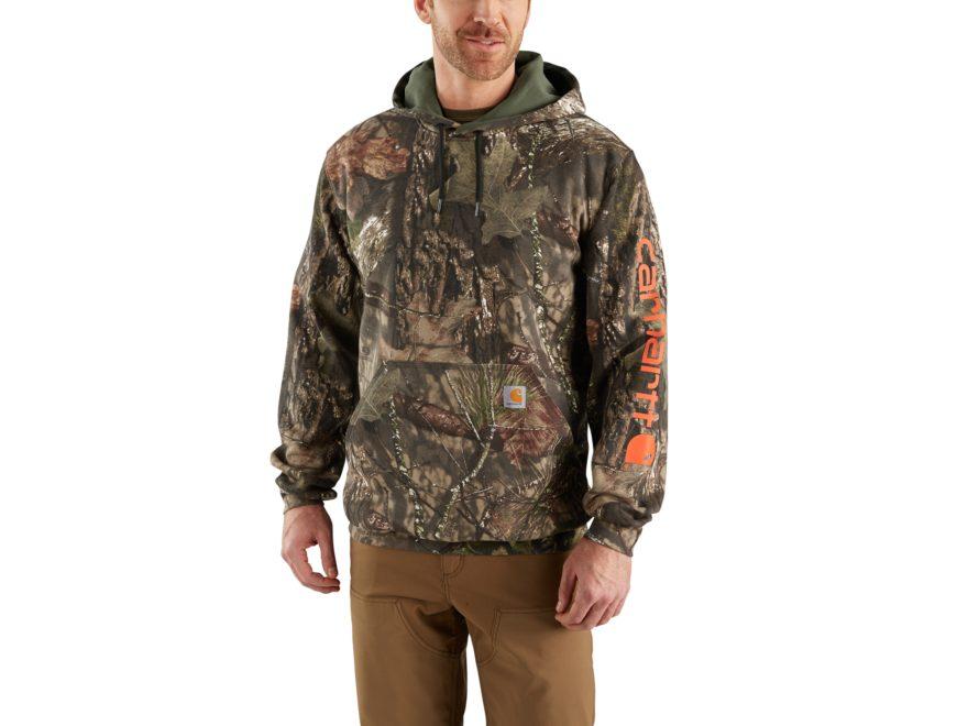 Carhartt Men's Camo Sleeve Logo Midweight Hooded Sweatshirt Cotton/Polyester