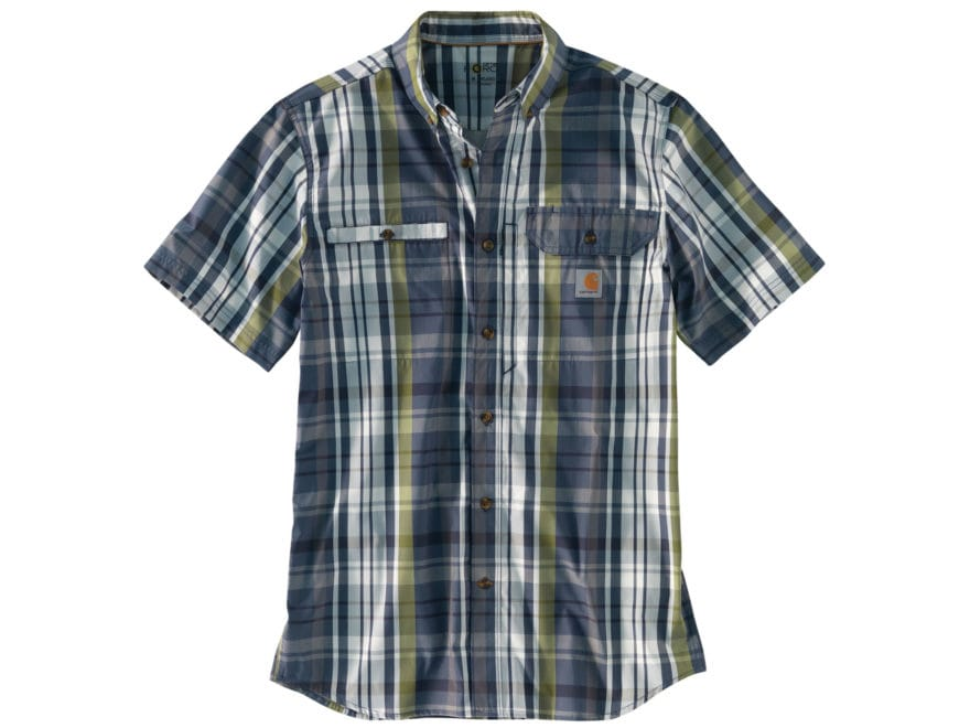Carhartt Men's Force Ridgefield Plaid Button-Up Shirt Short Sleeve Poly/Cotton
