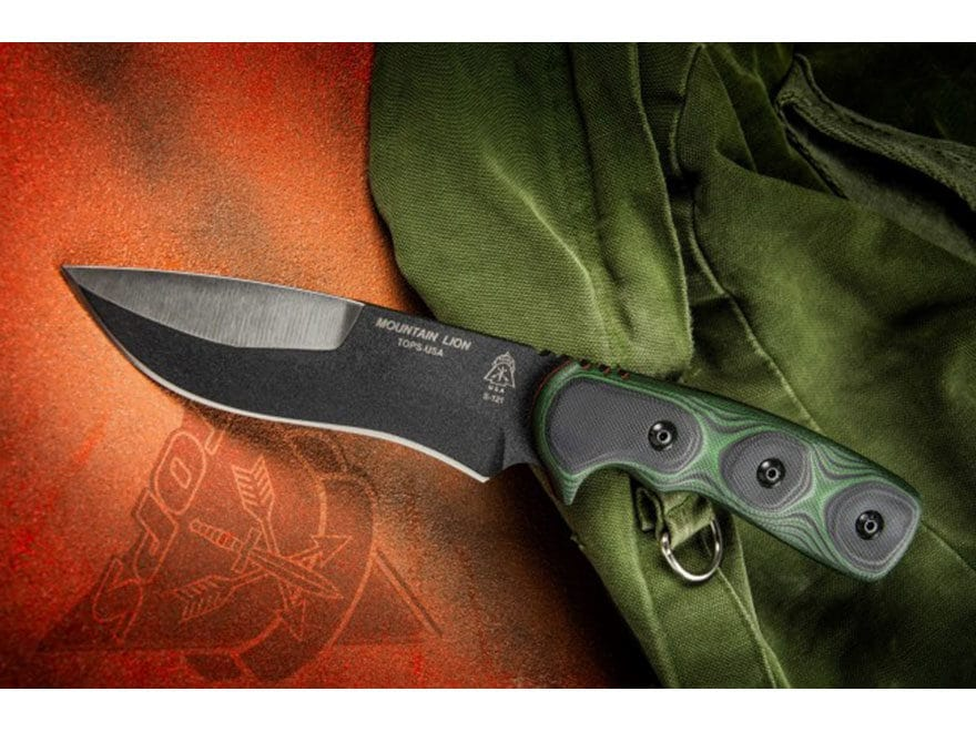 "TOPS Knives Mountain Lion Fixed Blade Knife 5.5"" Drop Point 1095 High Carbon Alloy Blad..."
