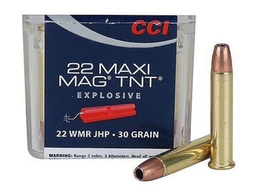 CCI Maxi-Mag Ammunition 22 Winchester Magnum Rimfire (WMR) 30 Grain Speer TNT Jacketed ...