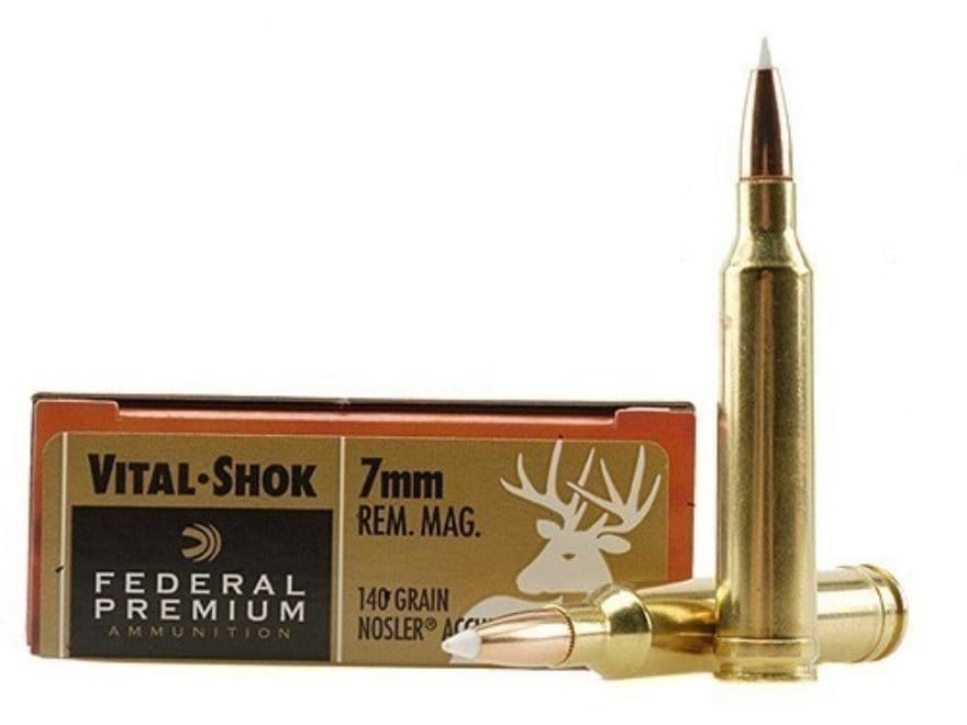 Federal Premium Vital-Shok Ammunition 7mm Remington Magnum 140 Grain Nosler AccuBond Bo...