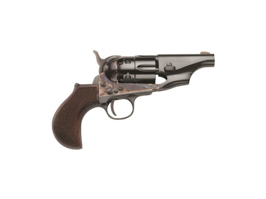"Pietta 1860 Army Snub Nose Black Powder Revolver 3"" Barrel Steel Frame with Checkered T..."