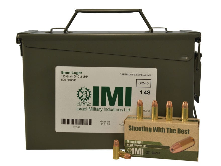 IMI Ammunition 9mm Luger 115 Grain Di-Cut Jacketed Hollow Point Ammo Can of 500 (10 Box...