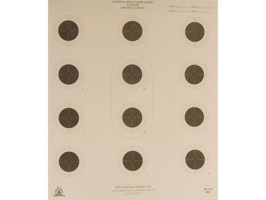 NRA Official Air Rifle Targets AR-5/10 10 Meter Air Rifle Paper Pack of 100