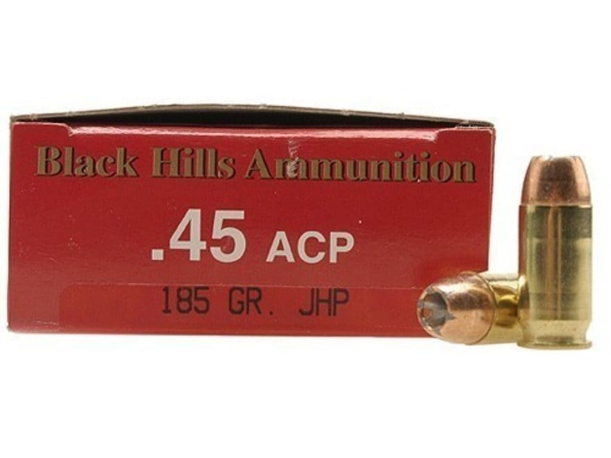 Black Hills Ammunition 45 ACP 185 Grain Jacketed Hollow Point Case of 500  (10 Boxes of 50)