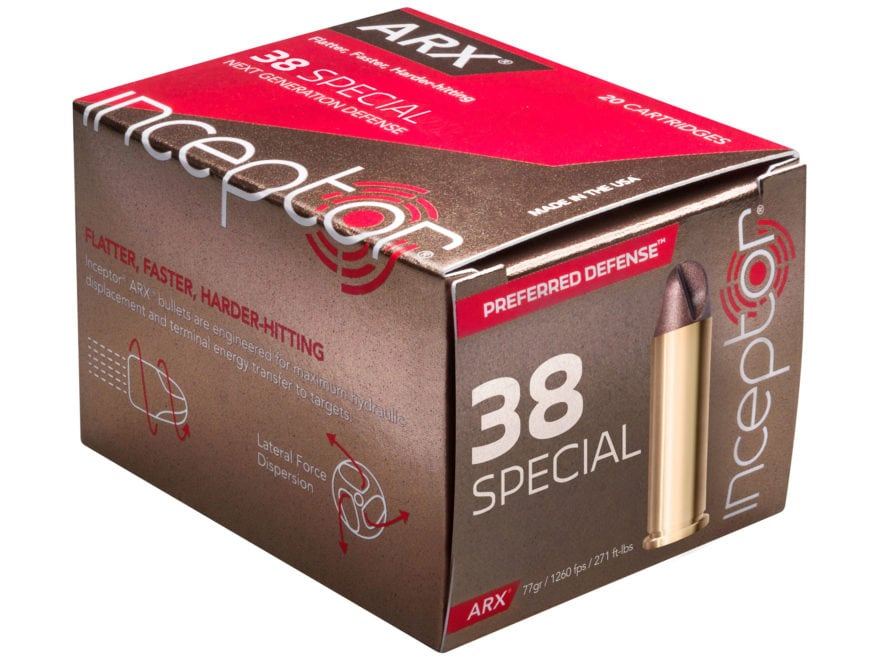 Inceptor Preferred Defense Ammunition 38 Special 77 Grain ARX Frangible Lead-Free Box o...