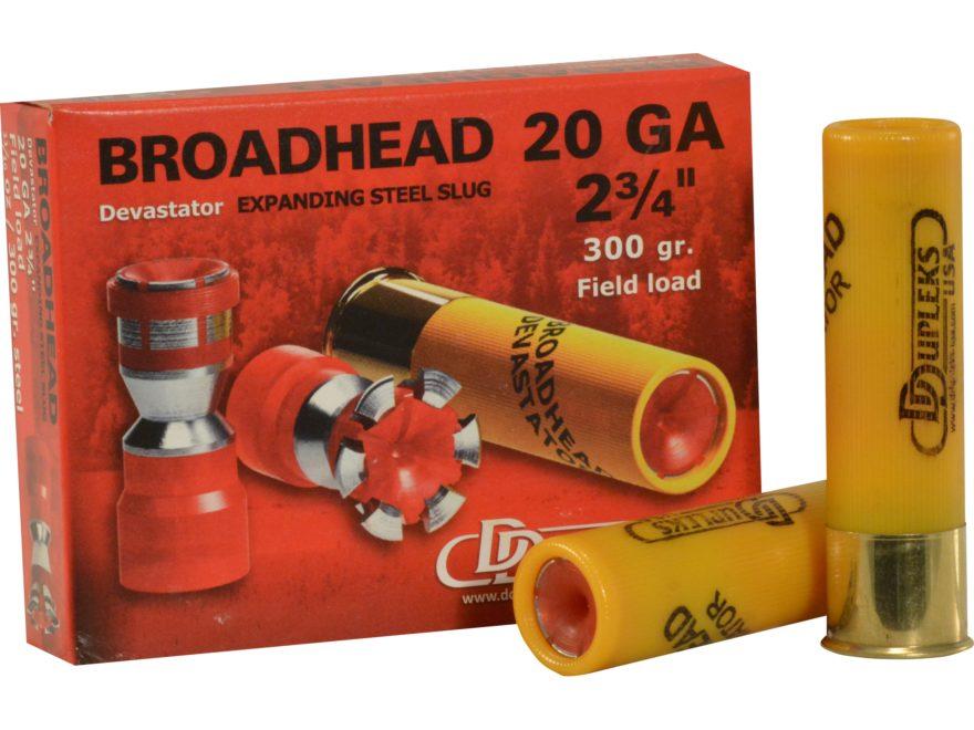 """DDupleks Broadhead Devastator Ammunition 20 Gauge 2-3/4"""" 11/16 oz Expanding Steel Slug ..."""