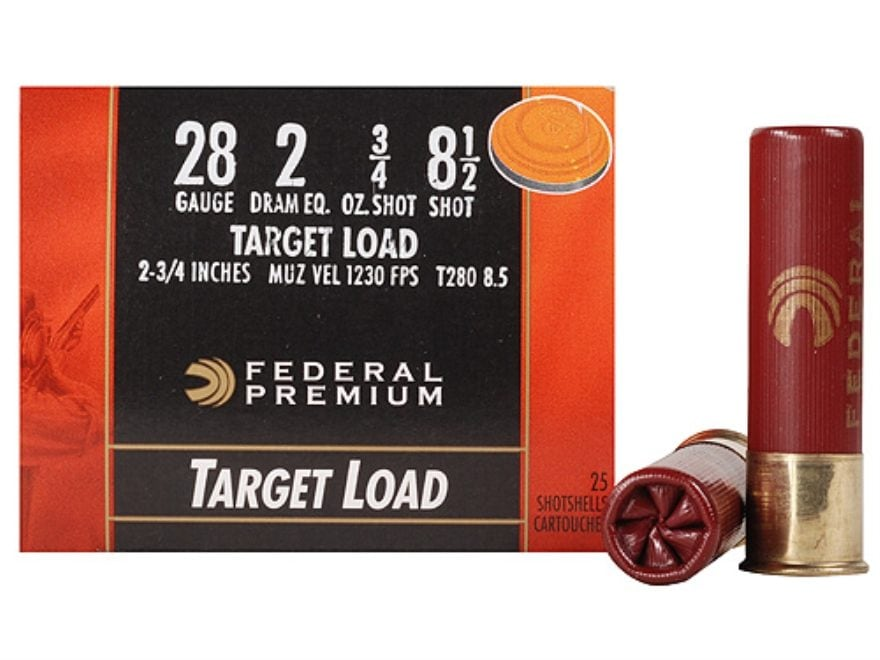 "Federal Premium Gold Medal Ammunition 28 Gauge 2-3/4"" 3/4 oz #8-1/2 Shot"