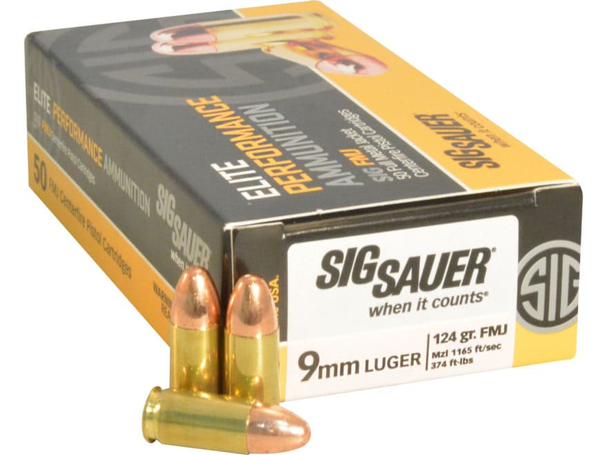 Sig Sauer Elite Performance Ammunition 9mm Luger 124 Grain Full Metal Jacket
