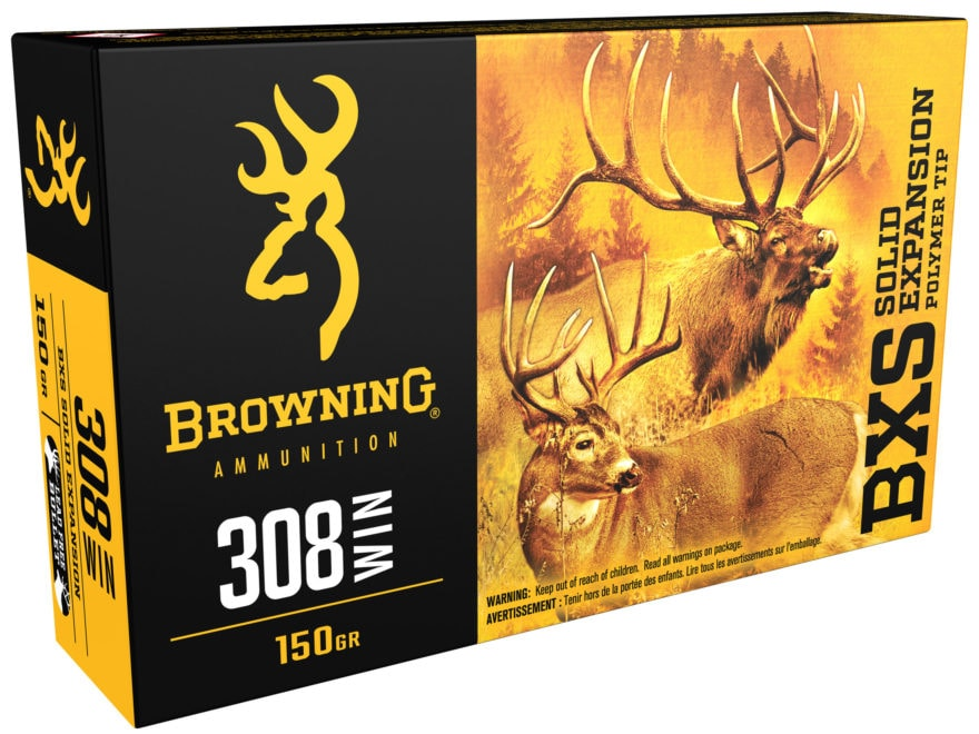 Browning BXS Solid Expansion Ammunition 308 Winchester 150 Grain Solid Copper Polymer T...