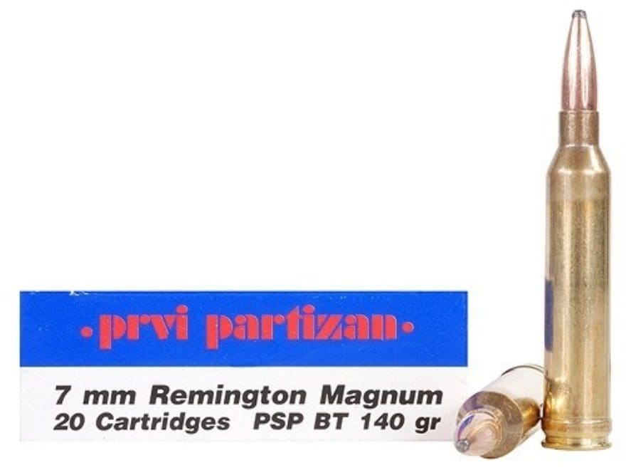 Prvi Partizan Ammunition 7mm Remington Magnum 140 Grain Pointed Soft Point Box of 20