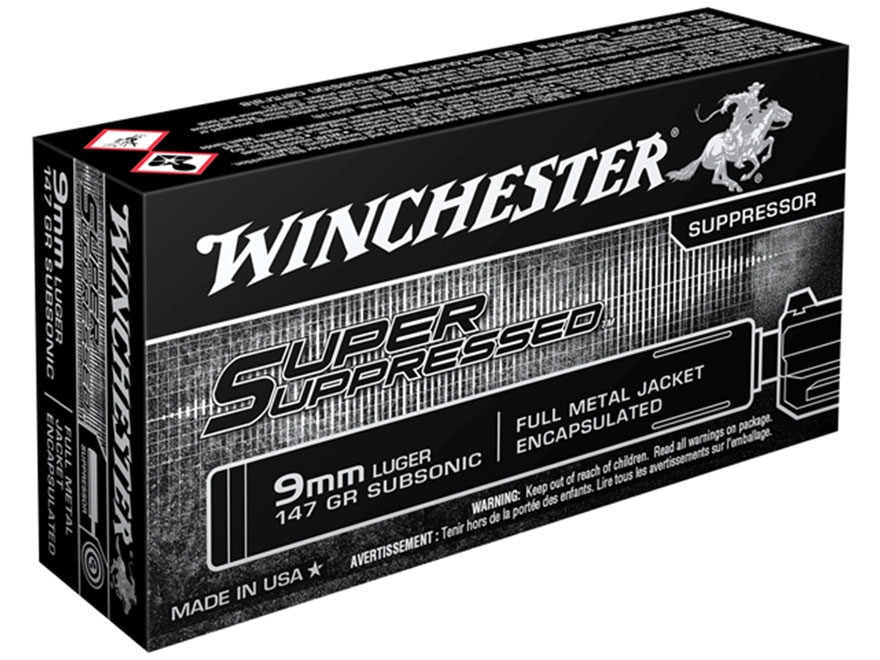 Winchester Super Suppressed Ammunition 9mm Luger 147 Grain Full Metal Jacket