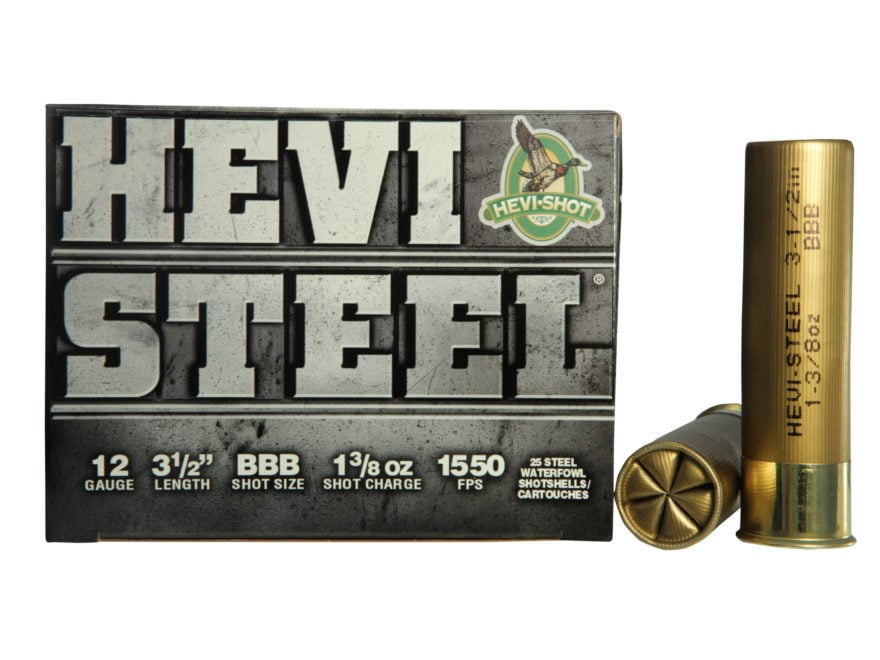 "Hevi-Shot Hevi-Steel Waterfowl Ammunition 12 Gauge 3-1/2"" 1-3/8 oz BBB Non-Toxic Shot"