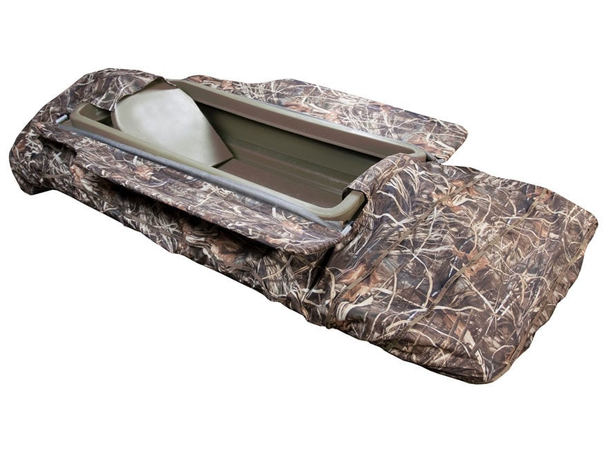Beavertail Final Attack 8' Sneak Boat with Backrest and Blind Package Marsh Brown