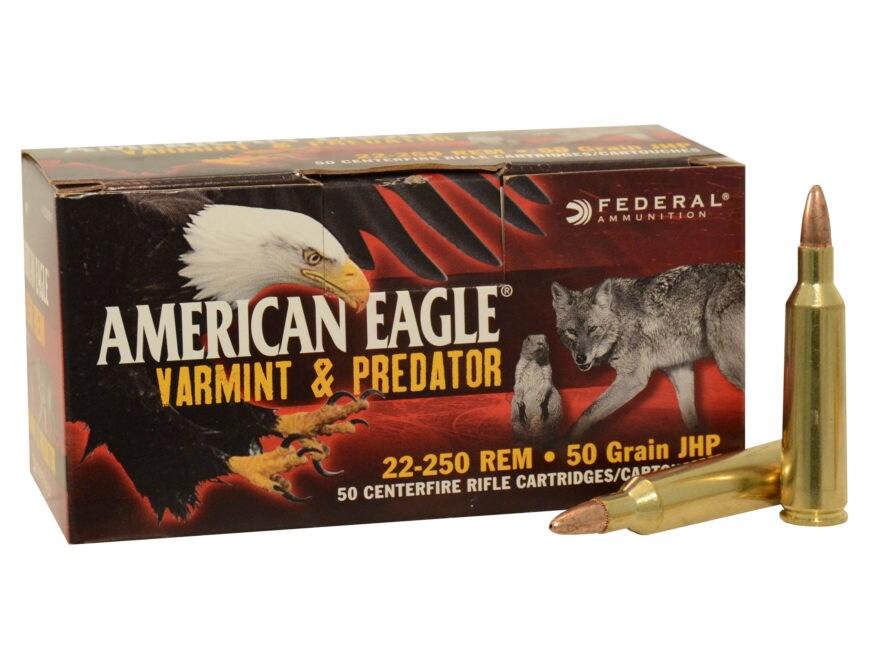 Federal American Eagle Varmint and Predator Ammunition 22-250 Remington 50 Grain Hollow...
