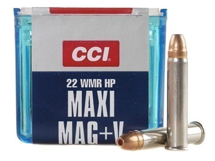 CCI Maxi-Mag +V Ammunition 22 Winchester Magnum Rimfire (WMR) 30 Grain Jacketed Hollow ...