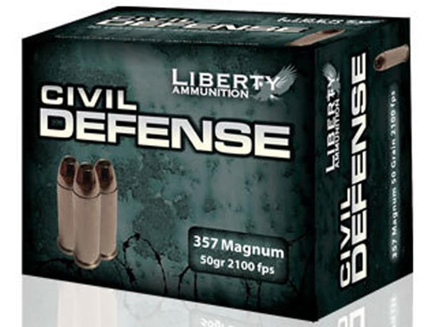 Liberty Civil Defense Ammunition 357 Magnum 50 Grain Fragmenting Hollow Point Lead-Free...