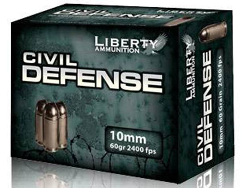 Liberty Civil Defense Ammunition 10mm Auto 60 Grain Fragmenting Hollow Point Lead-Free ...
