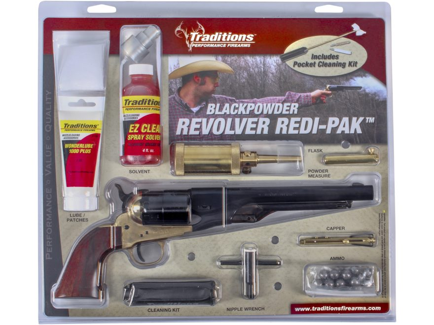 "Traditions 1860 Army Redi-Pak Black Powder Revolver 44 Caliber 8"" Blued Barrel Brass Fr..."
