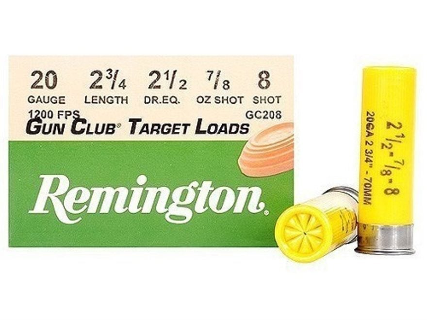 "Remington Gun Club Target Ammunition 20 Gauge 2-3/4"" 7/8 oz #8 Shot"
