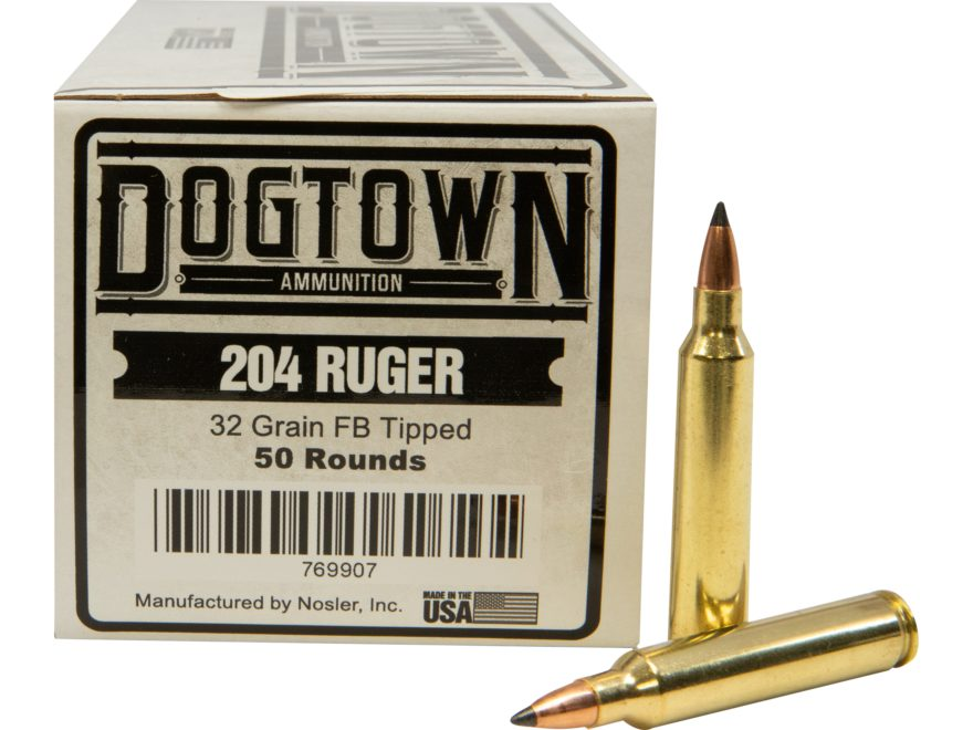 Dogtown Ammunition 204 Ruger 32 Grain Tipped Flat Base