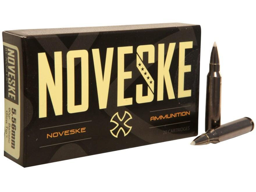 Noveske Ammunition 5.56x45mm NATO 60 Grain Ballistic Glow Tip Box of 20