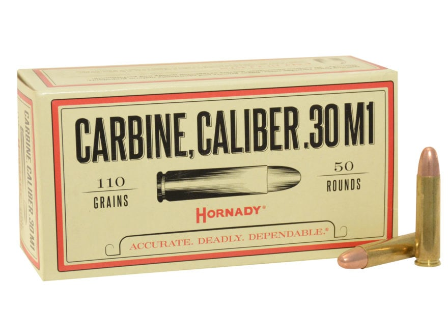 Hornady Custom Ammunition 30 Carbine 110 Grain Full Metal Jacket Box of 50