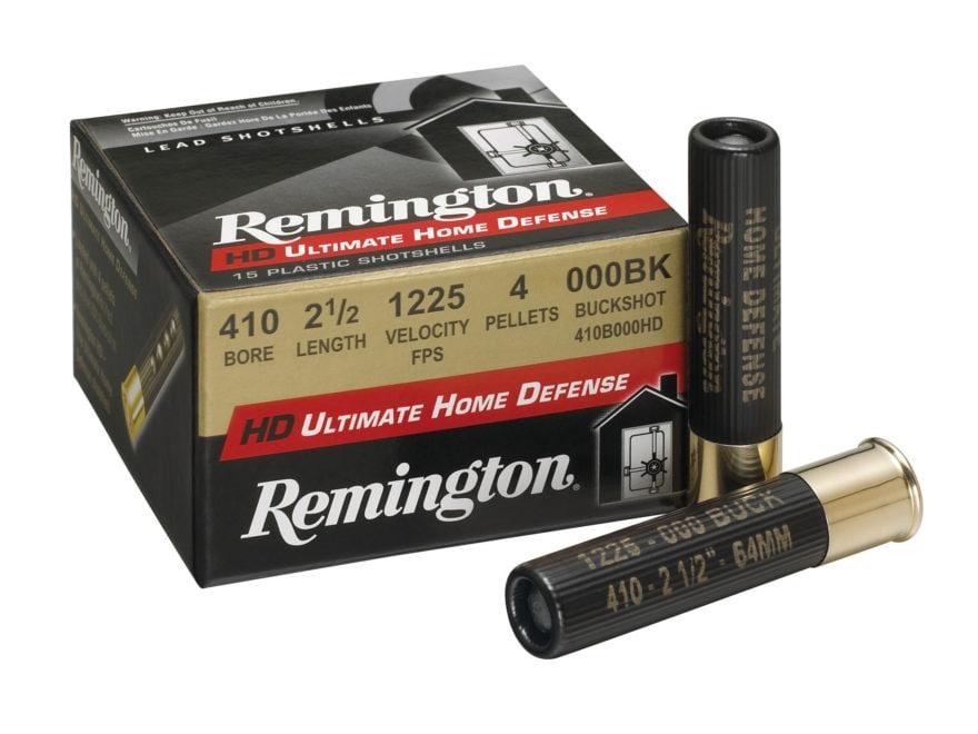 "Remington HD Ultimate Defense Ammunition 410 Bore 2-1/2"" 000 Buckshot 4 Pellets Box of 15"