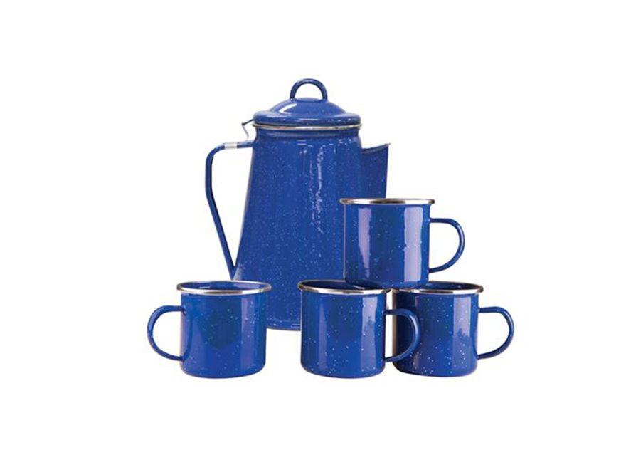 Stansport 8 Cup Percolator Enamelware Coffee Pot and Mug Set