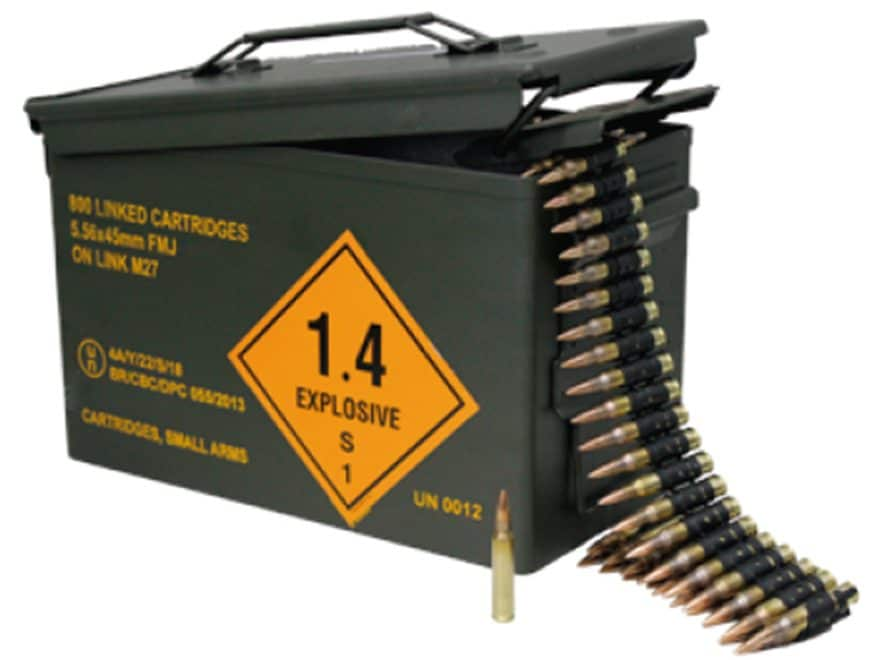 Magtech Ammunition 5.56x45mm NATO 62 Grain Full Metal Jacket 800 Linked Rounds in Ammo Can