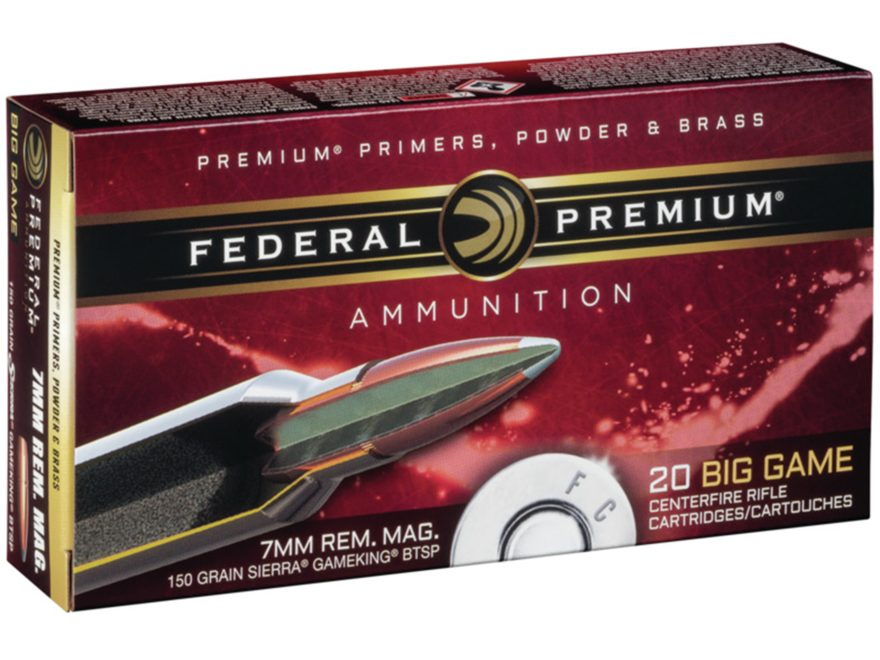 Federal Premium Vital-Shok Ammunition 7mm Remington Magnum 150 Grain Sierra GameKing So...