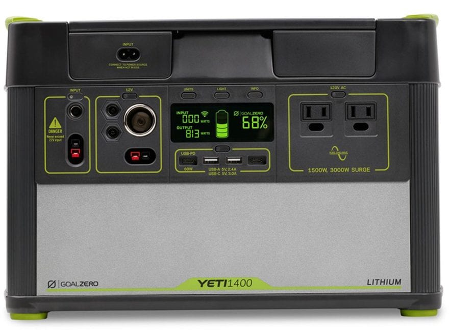 GoalZero Yeti 1400 Lithium V2 Portable Solar Power Station with Wifi