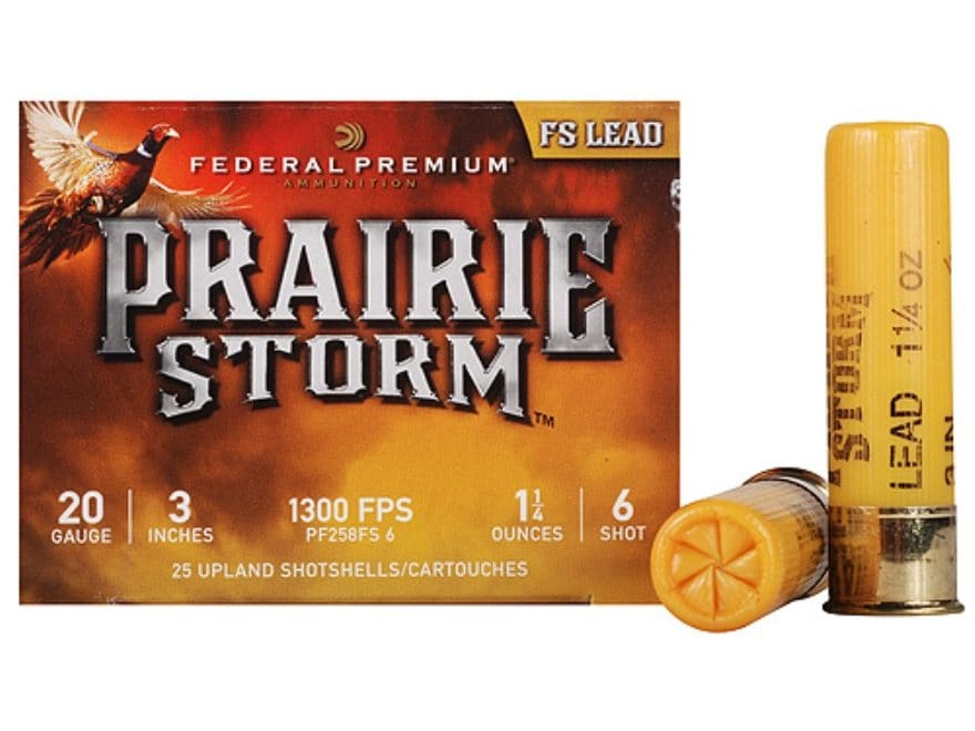 Federal Premium Prairie Storm Ammunition 20 Gauge Plated Shot